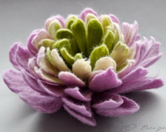 Felted Flower Brooch, Peony Felt Flower Brooch, Lavender and Apple Green Flower, Felted  Pin