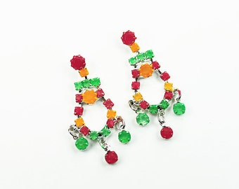 Hand Painted Neon Rhinestone Earrings in Green, Yellow , and Orange
