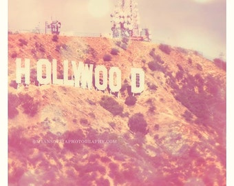 Hollywood sign print, large wall art, pink girls room, nursery print, celebrity, travel art, 30x30 photograph, Los Angeles photo