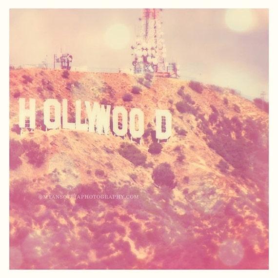 Hollywood sign print, large wall art, pink girls room, nursery print, celebrity, travel art, 30x30 photograph, Los Angeles photo