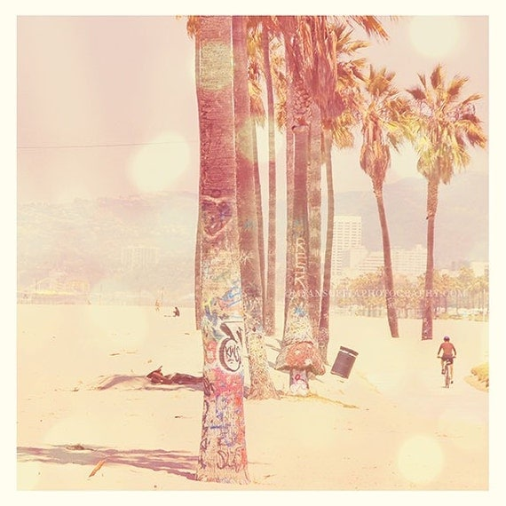 photography, Venice Beach photo, palm trees photograph, ocean seashore, California Sunshine, pink travel summer seaside large wall art 30x30