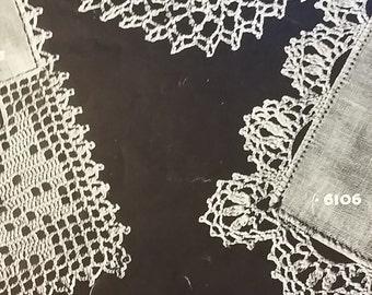 Crochet Handkerchief Lace Edgings Pattern 3 Designs Vintage Cotton Borders Instructions Digital Instant Download Broad Scallop Corner
