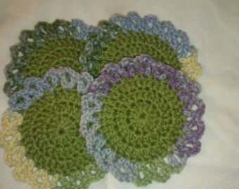 Set of  4 Crochet Coasters-Green