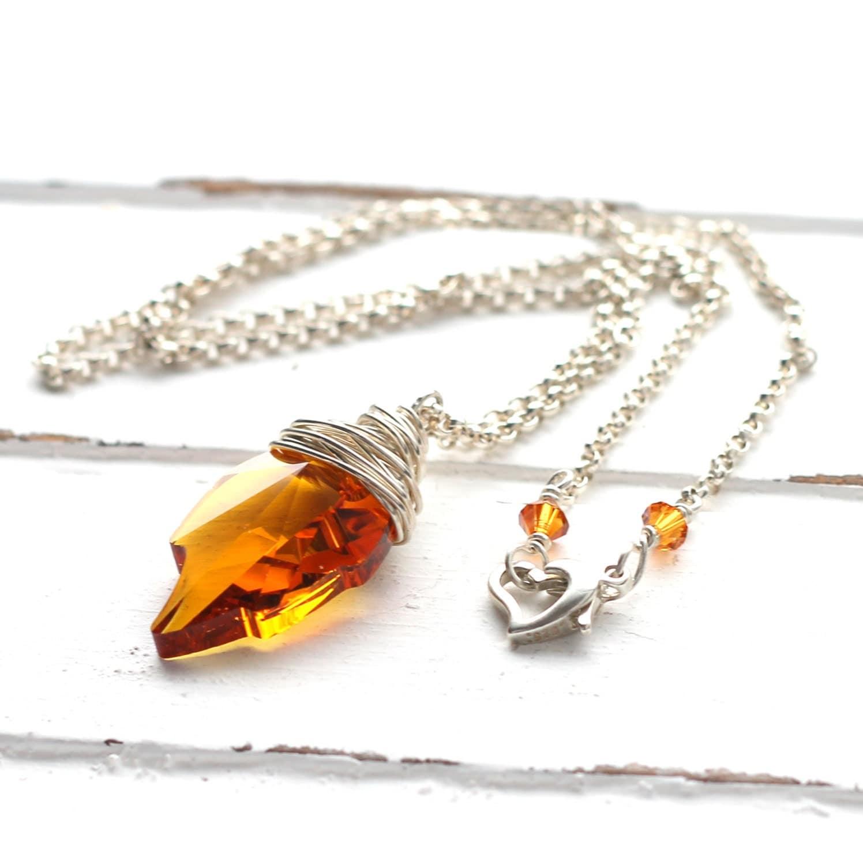orange leaf necklace topaz swarovski by
