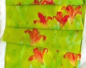 silk scarf Large Day Lily painted dyed chartreuse orange wearable art unique