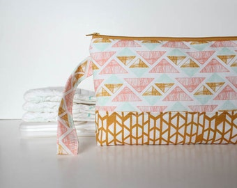 diaper and wipes clutch -- golden triangles