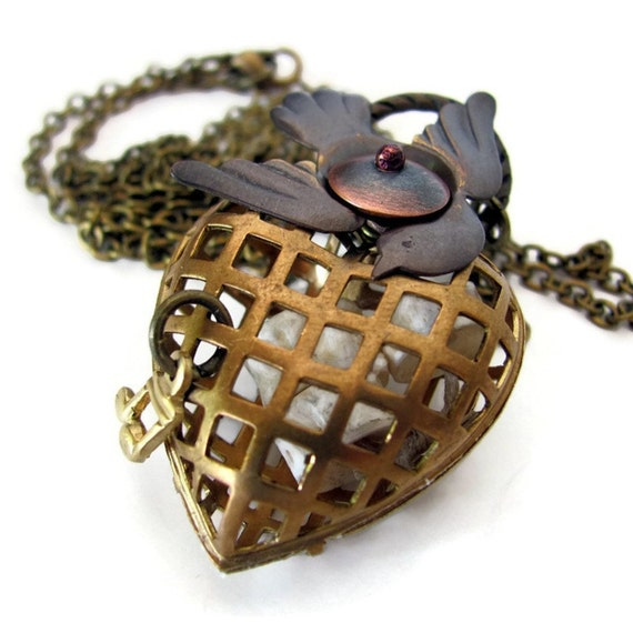 Unusual jewelry cage heart assemblage necklace strange love heart necklace unique jewelry heart locket necklace unusual necklaces
