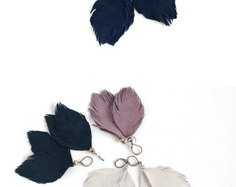 Suede leather feather earrings in navy blue, light grey or smoky violet. One pair