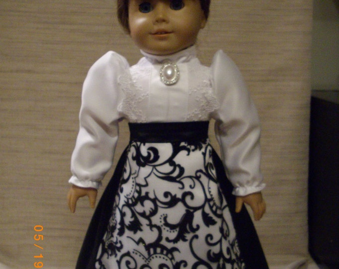 victorian day set in black and white, skirt blouse and hat, satin set, pearl trim, tear dop style hat