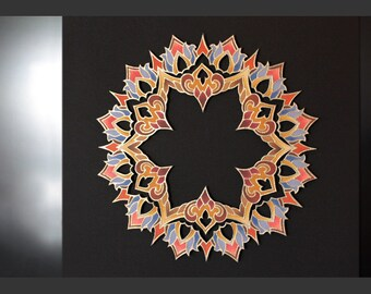"Mandala ""Regal Emanation"" - Illuminated 3-D Paper Sculpture Original Artwork"