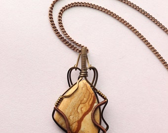 Men's Jewelry Picture Jasper Sandstone from South Africa - Wire-Wrapped Pendant Men's Necklace