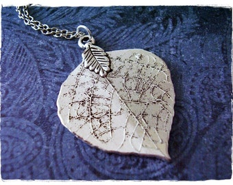 Large Silver Aspen Leaf Necklace - Antique Pewter Aspen Leaf Charm on a Delicate Silver Plated Cable Chain or Charm Only