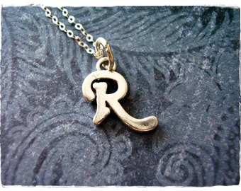 Silver Cursive R Initial Necklace - Sterling Silver Cursive Initial R Charm on a Delicate Sterling Silver Cable Chain or Charm Only