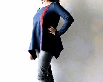 Women sweatshirt, blue sweatshirt, boho top, winter top, long sleeve top, blue top, cotton top, women sweater,  women clothing, tunic top
