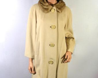 Vintage Carol Brent 100% Cashmere Camel Coat & Real Mink Fur Collar Medium - Free USA Shipping
