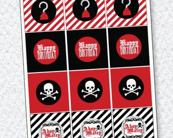 Pirate Party PRINTABLE Cupcake Toppers (INSTANT DOWNLOAD) by Love The Day