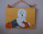 Its Pumpkin Time! Old English Sheepdog painting