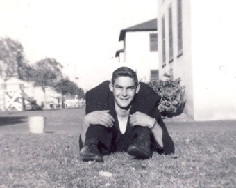 Man With LEGS BENT Over His Shoulders in TRICK Photography Photo Circa 1950s