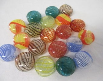 20 BLOWN GLASS HOLLOW Flat Round Beads 20 mm - Assorted Colors