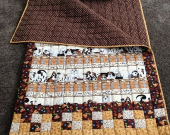 "Child's Quilted Sleeping Bag ""Pound Hounds"" in Shades of Brown"