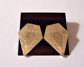 Shield Style Pierced Earrings Gold Tone Vintage Large HypoAllergenic Posts Imprinted Design