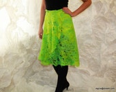 Felted citrus green skirt cobweb  Felt light luxury original all season open work Regina Doseth handmade in Lithuania EU