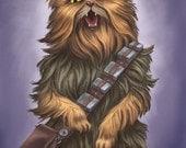 Chewbacca Cat - 8x10 art print - Star Wars Chewbacca Cat yelling persian wookie