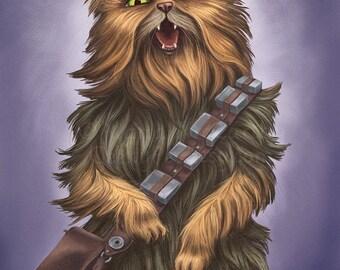 Jabba The Cat 10x8 Art Print Star Wars Jabba Cat Holding