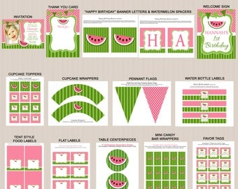 Pink Watermelon Birthday Party Decorations, Watermelon Party Printables, Watermelon Birthday Party Package, PRINTABLE, Photo Invitation