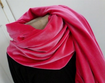 Pink velvet shawl scarf/FREE SHIPPING IN U.S.
