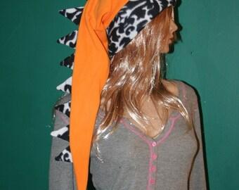 Dragon Hat Orange Black White Long Snowboarding Dinosaur Tail Hat Fleece Winter Ski