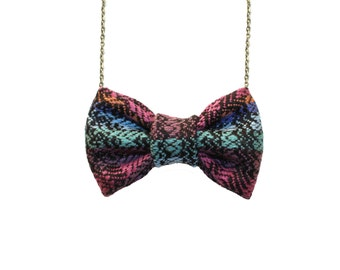 Aztec Pattern No3 Bow Tie Necklace - Geometric Unique Bowtie Purple Blue