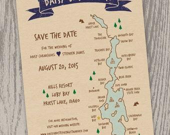 Printable Digital File - Priest Lake, Idaho Map Save the Date Card - Customizable - Wedding, Shower, Hand-drawn, Luby Bay, Indian Creek