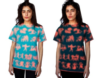 MATURE -T Shirt - Coral and Teal or Rust and Black - Hand Printed - Sexy - Greek Print  - Ancient Greek Pattern - Festival - Humor - Party