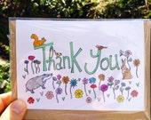 Thank You Card, animal themed Eco Greetings Card