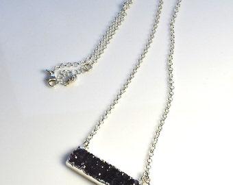 LP 1258  Glittering Crystals, Dark Royal Purple Amethyst Druzy, Raw Gemstone Set In Sterling Silver, Star Charm,Great For Layering Necklace