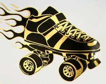 Gold Flames Skate Decal