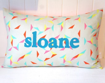 Custom Name Pillow Cover, 16x24, any name available, multi triangles confetti