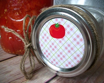 Plaid Tomato canning jar labels, round canning labels for mason jars, Salsa, Spaghetti Sauce, food preservation mason jar labels