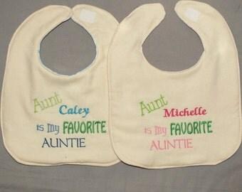 Personalized my favorite aunt bib baby boy aunt bib baby girl aunt bib