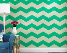 Chevron  Wall Stripes Decal with Wall Stencil effect - 15% Off for 5 sets or more - AP0022