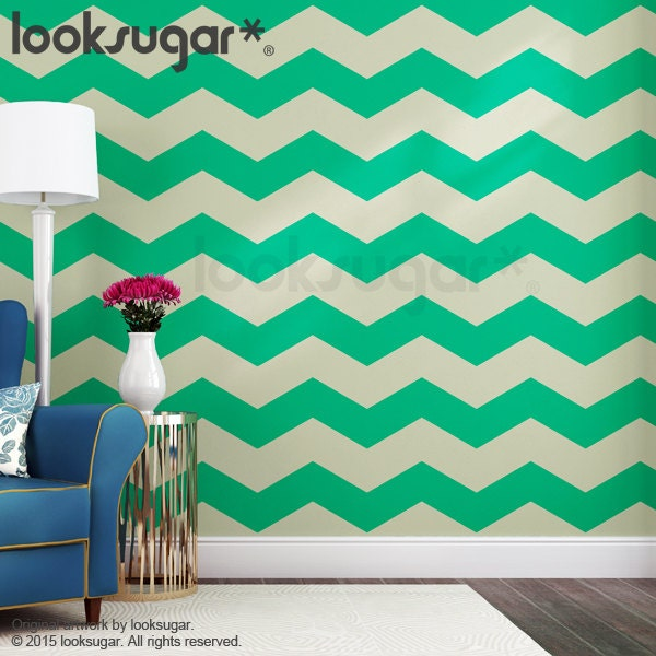Chevron wall stripes decal with wall stencil effect 15 off for Chevron template for walls