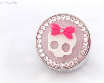 Pink sugar skull pill box, pastel goth decoden accessories, creepy kawaii gift