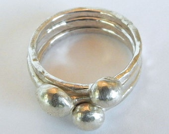 Handforged Stacking Sterling Bubble rings made with Recycled Silver