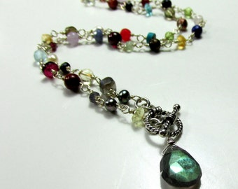 Semi-precious and Precious Gemstones, Sterling Silver Necklace with Toggle - Artisan Handmade