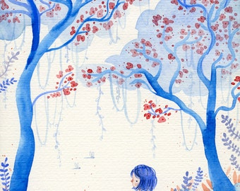 The Gentle Clearing - A5 Print - rain forest girl explore wander wilderness plants garden tree insect blue red fern watercolour illustration