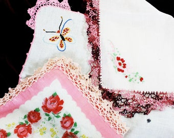 3 Vintage Handkerchief, White with Embroidery, Flowers, Butterflies, Edging - V