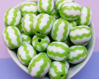 10x 20mm Watermelon Green and White Stripey Beads