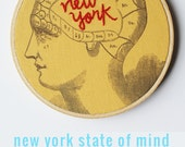 Embroidery Hoop Art Embroidered Brain. New York Art. Psychology Art. Stitched Text. Hand Embroidered Words. Yellow Hoop wall Hanging