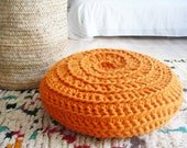 Giant Floor Cushion Crochet - Thick Cotton - Orange